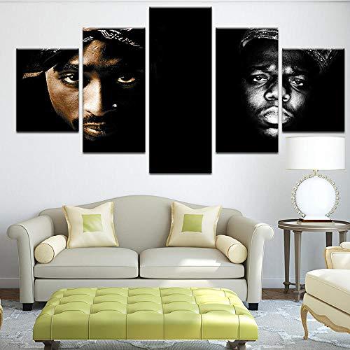 CGHBDOP Wohnkultur Kunst 5 Teiliges Moderne Leinwand Wandbilder Der Berüchtigte Amerikanische Rapper Music Star B.I.G Tupac 2Pac Vlies Bild Auf Modulare Wanddeko Wohnzimmer
