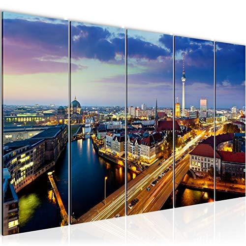 Bilder Berlin Wandbild 150 x 60 cm Vlies - Leinwand Bild XXL Format Wandbilder Wohnzimmer Wohnung Deko Kunstdrucke Blau 5 Teilig - MADE IN GERMANY - Fertig zum Aufhängen 605156a