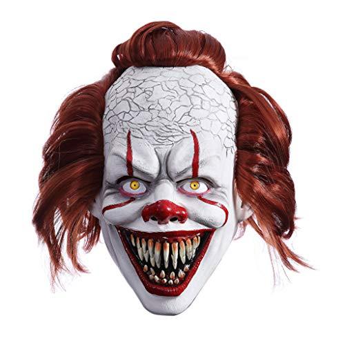 YAOYAN Halloween Maske, Horror Maske Silikon Maske Clown Maske Halloween Latex Vollgesicht Zombie Bucktooth Clown Maske Maskerade Party Kostüm