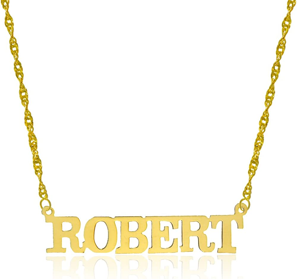 14K Yellow Gold Personalized Name Necklace - Style 10 (16 Inches, Singapore Chain)