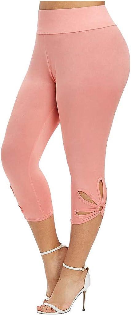 melupa Women's Plus Size Capri Cropped Leggings High Waist Yoga Capris Tummy Control Casual Workout Sports Compression Pants