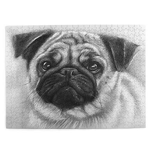 CVSANALA Jigsaw Picture Puzzles 500 Stück,Mop Zeichnung Mops Hund,Bildungs Familienspiel Wandkunstwerk Geschenk für Erwachsene,Teenager,Kinder,20.4 x 15Zoll