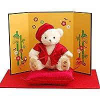 【プティルウ】還暦祝いに贈る、赤いちゃんちゃんこの福べア(金屏風) 子 ねずみ