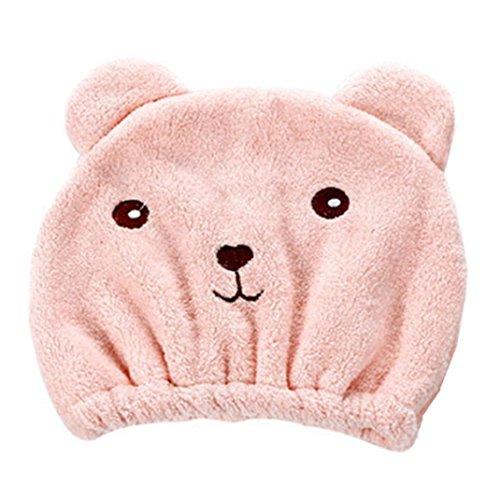 spritumn Kawaii oso para cabello seco sombrero super absorbente toalla de secado de pelo Wrap gorro tejido de microfibra suave rápida secador de Magic Talla única