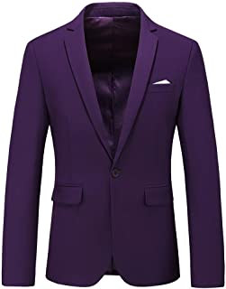 300fe02cb3d Man s Slim Fit Casual One Button Notched Lapel Turn-Down Collar Blazer  Jacket