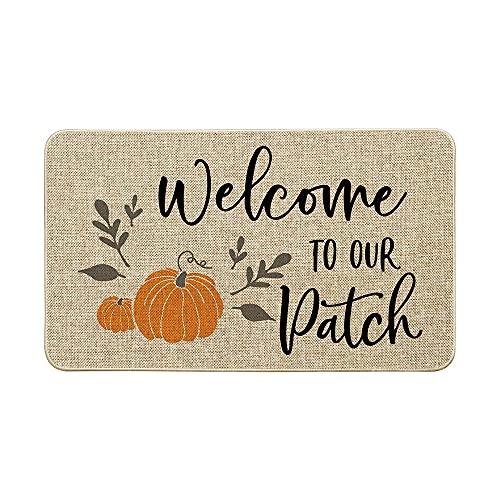 Artoid Mode Welcome to Our Pumpkin Patch Decorative Doormat, Seasonal Fall Autumn Harvest Vintage Rustic Low-Profile Floor Mat Switch Mat for Indoor Outdoor 17 x 29 Inch