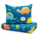 Sivio Kids Duvet Cover Set for Kids Weighted Blanket, 100% Cotton, Skin-Friendly 2 Pieces Toddler Bedding Set Gift for Boys and Girls, 36 x 48 Inch, Blue Dinosaur