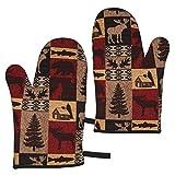MZZhuBao Lodge - Set di 2 guanti da forno a microonde, resistenti al calore, per barbecue, cottura e griglia, isolati di alta qualità, resistenti