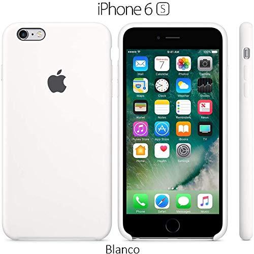 Funda Silicona para iPhone 6 y 6s Silicone Case, Calidad, Textura Suave, Forro Interno Microfibra (Blanco)