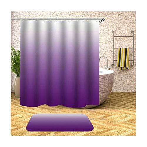 MF.CHAMA Badezimmer Dusch Vorhang, Violetter Farbverlauf Duschvorhänge Mit Motiv mit Badematte 180x180CM