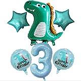 DIWULI, Gran Juego de Globos de Dinosaurios, 1x Globo de Dinosaurio XL + XXL número 3 número Azul + 2X Globo de Estrella Verde + 2X Globos de Papel de Aluminio de Dinosaurios para el 3er cumpleaños