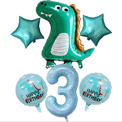 DIWULI, großes Dinosaurier Luftballon Set, 1x XL Dino-Ballon + XXL Zahl 3 Zahlen-Ballon blau + 2X grüner Stern-Ballon + 2X Dino Folien-Ballons für 3. Kinder-Geburtstag Junge, Motto-Party, Dekoration