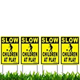 VIBE INK 12' x 18' Slow - Children at Play 4-Pack Caution Yard Signs - Lawn Sign w/Metal Stakes
