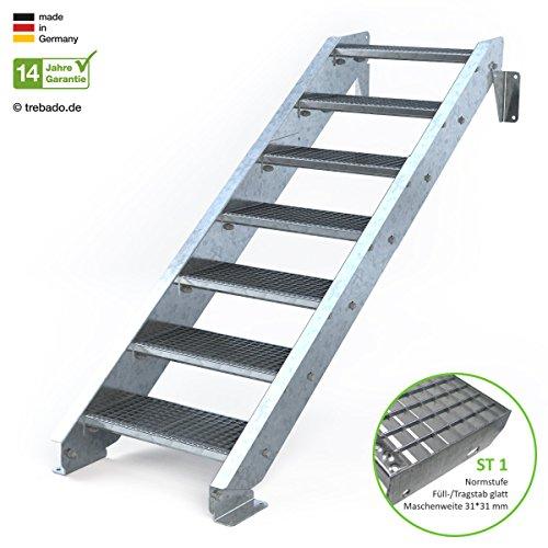Außentreppe 7 Stufen 60 cm Laufbreite - ohne Geländer - Anstellhöhe variabel von 116 cm bis 140 cm - Gitterroststufe ST1 - feuerverzinkte Stahltreppe mit 600 mm Stufenlänge als montagefertiger Bausatz