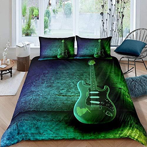 NYYZBD Arte de Instrumento Musical de Guitarra Verde Funda Nórdica para Cama 240x260 cm Bedding Funda Nórdica Cama Juego de Funda de Edredón Suave con Fundas de Almohada para Cama Super King Juego de