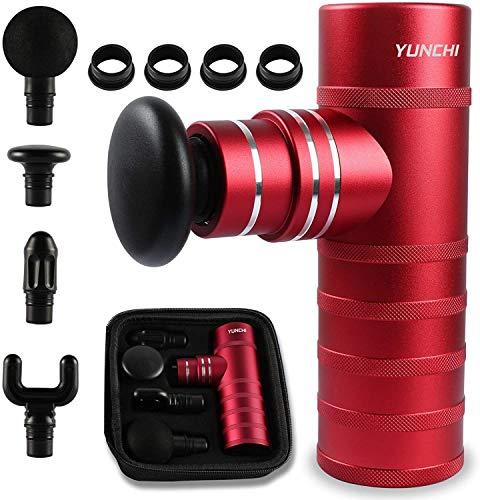 Yunchi - Pistola per massaggi muscolari a percussione, portatile, massaggiatore per alleviare i muscoli tenuti, allevia il dolore, facile da indossare, colore: Rosso
