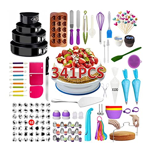 Braiton 341 Pcs Cake Decorating Tools Kit Baking Supplies with Revolving Cake Turntable 15 Holes Heart-Shaped Silicone Film 48 Head Decorating Mouth Tools,Photo Color