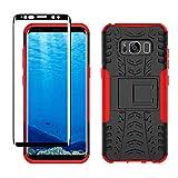 Yiakeng Funda Samsung Galaxy S8 Carcasa y Protector Pantalla, Silicona a Prueba de Choques Protector con Kickstand para Samsung Galaxy S8 (Rojo)