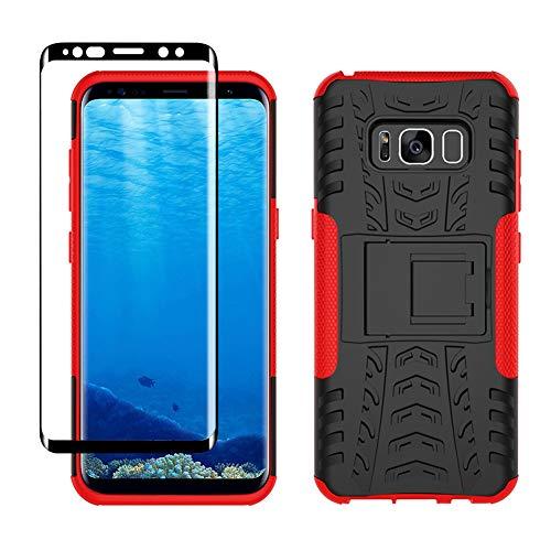 Yiakeng Coque pour Samsung Galaxy S8 et D'écran Protecteur, Silicone Antichoc Full Protection avec béquille pour Samsung Galaxy S8 (Rouge)