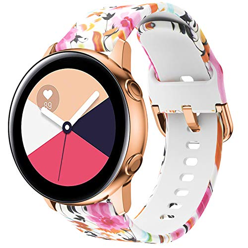 FunBand Correa Compatible para Samsung Galaxy Watch Active/Active 2, Correas de Silicona Impresas Duraderas Pulseras Ajustable Reemplazo Accesorios para Galaxy Watch 3 41mm/Galaxy Watch 42mm