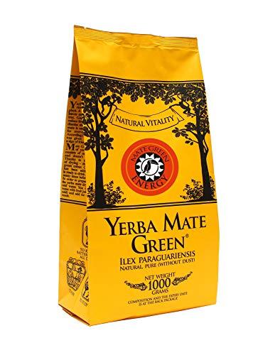 Yerba Mate Green Energy Brasilianischer Mate-Tee 1000g   Sibirischer Ginseng   Ackerschachtelhalm   Holunder   Hohe Qualität   Stark anregender MateTee   Glutenfrei   nicht rauchgetrocknet