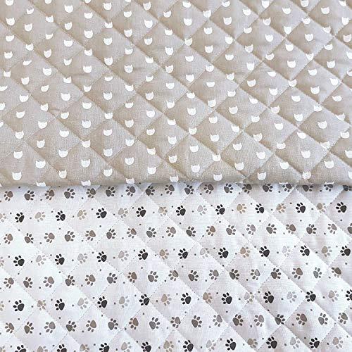 Werthers Stoffe Stoff Baumwollstoff Meterware Steppstoff Pfoten Katze Tatze beige weiß wattiert gesteppt