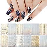 VETPW 12 Fogli Adesivi Unghie Nail Art Stickers, 3D Oro Argento Adesivi per Unghie Autoadesivi Nail Art Decalcomanie Striping Tape line Decorazione Unghie, Unghie Decorazioni Manicure