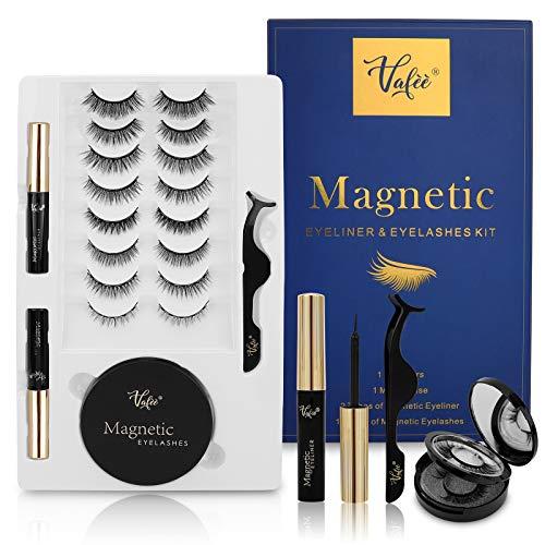 Magnetic Eyelashes Kit, Magnetic lashes, Magnetic Eyelashes with Eyeliner, No Glue Needed, with Tweezers (Blue)
