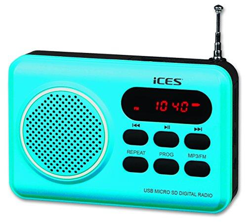 iCES IMPR-112 UKW Radio tragbar mit Akku (USB, SD-Kartenleser, Senderspeicher, LED-Display, Kopfhörerbuchse, Teleskopantenne), blau