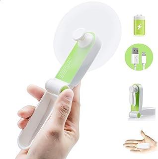 GlobalCrown - Mini ventilador de bolsillo plegable, ventilador de mesa, pequeño ventilador portátil recargable USB, mini ventilador, ventilador USB personal y ligero para casa, oficina y viaje