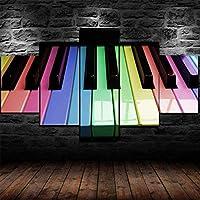 5つのパネル現代のピアノキーキーボード音楽風景アートワークキャンバスプリント抽象的な写真キャンバスの写真絵画へのセンセーション壁の家の装飾の壁のアート