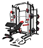 MiM USA Full Set of Functional Trainer Smith Machine Power Cage & Adjustable Weight Bench W/Preacher...