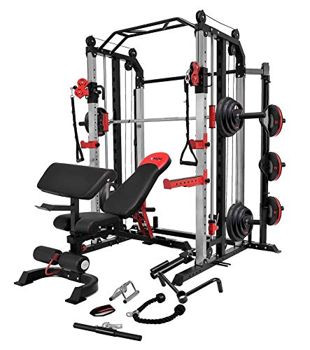 MiM USA Full Set of Functional Trainer Smith Machine Power Cage & Adjustable Weight Bench