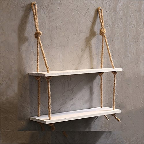 Estante de pared con cuerda de cáñamo 2 niveles Estante de pared de madera Estantes de pared colgante para la sala de estar como estantería de almacenamiento de pared Decoraciones de diseño (White)