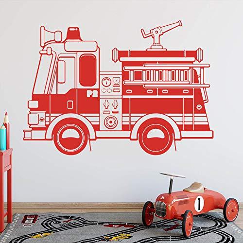 Tianpengyuanshuai Feuerwehrauto Wandaufkleber Jungenzimmer Spielzimmer Feuerwehrauto Fahrzeugbau Wandaufkleber Vinyl Dekoration 54X38cm