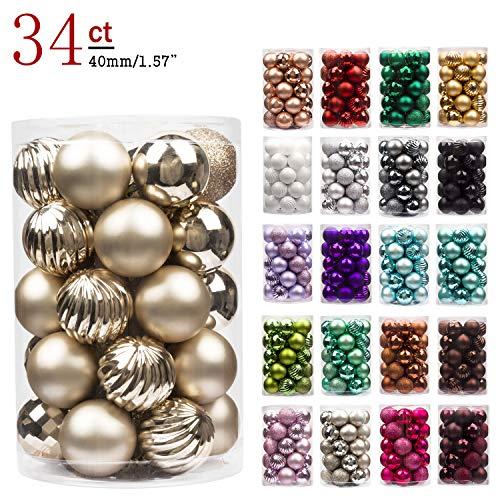 Busybee kerstballen onbreekbaar kerstboomversiering voor Xmas Party Decor Decoratie Haken inbegrepen (champagne, 40mm)