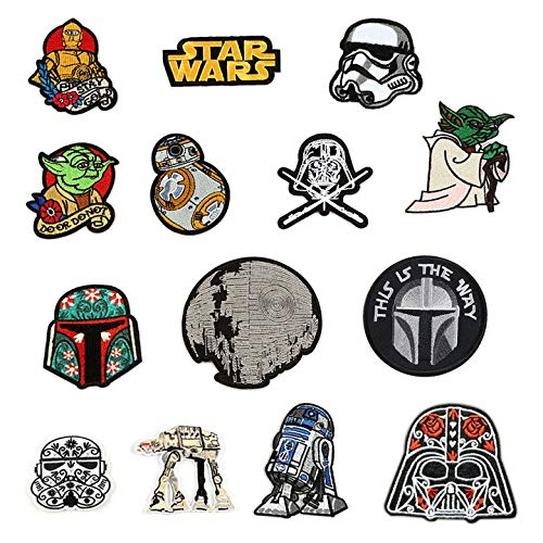 14Pcs Patch Sets,Military Morale Embroidered Patch ,Patch,This is The Way Mandalorian Helmet Inspired Art Embroidered Patch for Jacket 12 pcs Morale Iron On/Sew On Patches