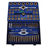 Happybuy 86PC Tap and Die Set Combination Metric Tap and Die Sae Tap and Die Set Tungsten Steel Titanium SAE and...