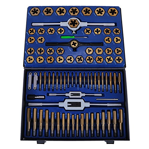 Happybuy 86PC Tap and Die Set Combination Metric TapandDie Sae Tap and Die Set Tungsten Steel Titanium SAE and Metric Tool (86PC Tap and Die)