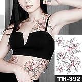tzxdbh Línea Impermeable de la Etiqueta engomada del Tatuaje del Pecho Rose Peony Tattoo Tatto Body Art para Mujeres en Tatuajes de 09-TH392