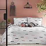 Appletree Tenley - Set copripiumino per letto matrimoniale, 100% percalle di cotone, 180 fili, colore: Corallo