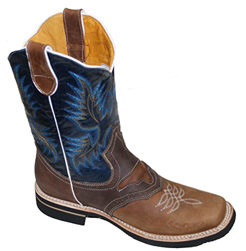 Men Cowboy Genuine Cowhide Leather Square Toe Rodeo Western Boots_Tan_Black_11.5