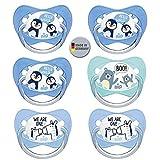 Nip - Juego de chupetes de silicona con anillo para niños (18-32 meses, 6 unidades, sin BPA, fabricado en Alemania)