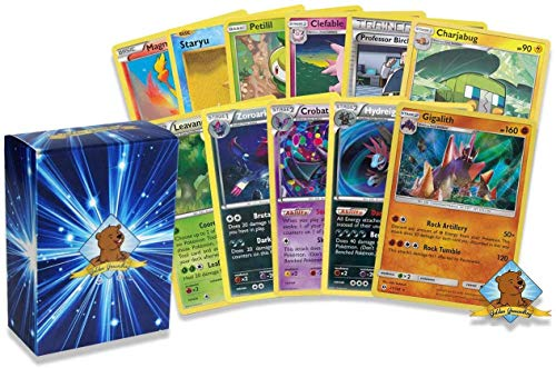 50 Assorted Pokemon Cards - 3 Rare Cards, 2 Holographic Cards, 45 Commons/Uncommons - Authentic - Includes Golden Groundhog Deck Storage Box!