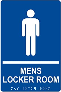 Mens Locker Room Sign, ADA-Compliant Braille and Raised Letters, 9x6 inch White on Blue Acrylic with Adhesive Mounting Strips by ComplianceSigns