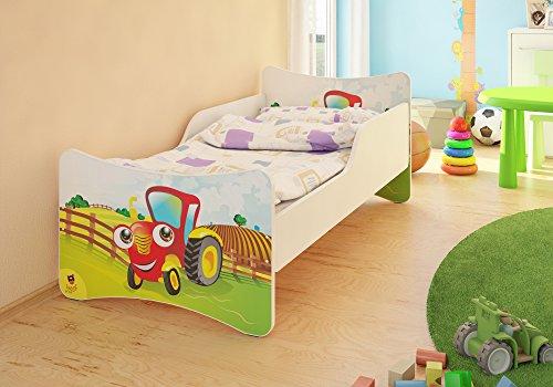 BEST FOR KIDS KINDERBETT MIT 10 CM MATRATZE TÜV ZERTIFIZIERT SUPER AUSWAHL 8 GRÖßEN VIELE DESIGNS (70x140, Traktor)
