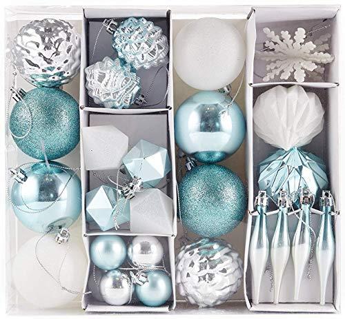 HEITMANN DECO Noël - Set de 29 Boules et décorations de Sapin de Noël - Décorations de Noël Blanc, Argent et Bleu Turquoise, à Suspendre à l'arbre de Noël