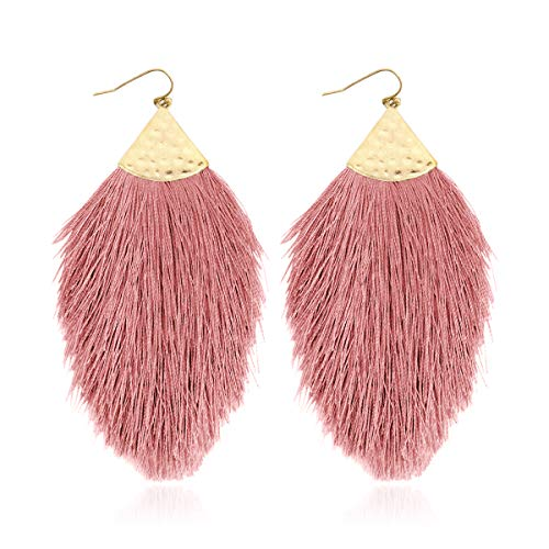 Bohemian Silky Thread Fan Fringe Tassel Statement Earrings - Lightweight Strand Feather Shape Dangles (Feather Fringe - Dusty Pink)