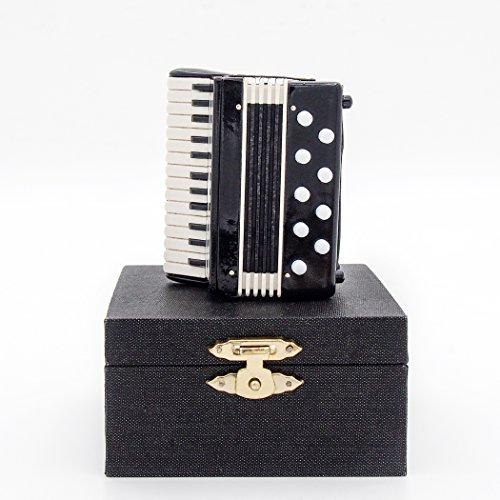 Odoria 1/12 Miniatur Akkordeon mit Koffer Für Musikinstrument Puppenhaus Dekoration Zubehör