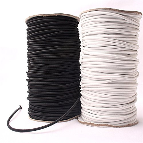 Corde élastique solide à absorption de choc de diamètre 5 mm - Noir et blanc - Cordon élastique pour réparation. blanc